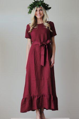 Garā lina kleita Dancot gāju bordo